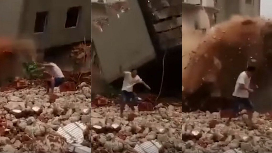 Escapó por poco del derrumbe de un edificio