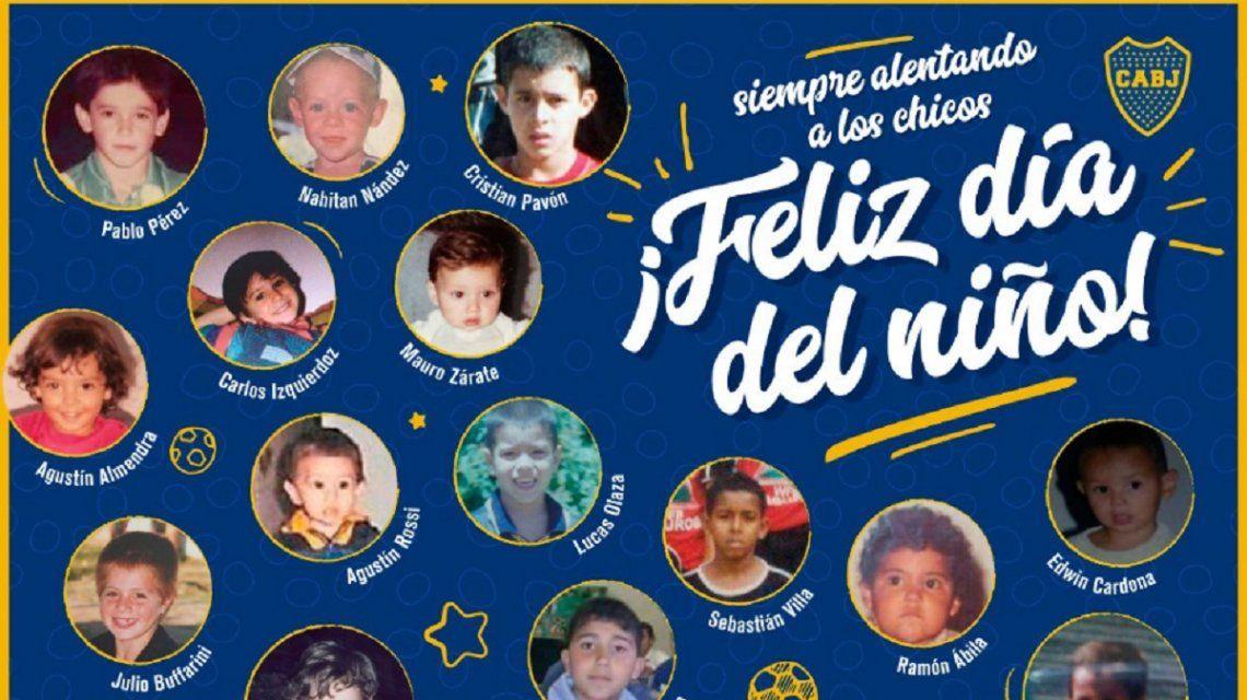 Los jugadores...¡de chiquitos! El original saludo de Boca por el Día del Niño