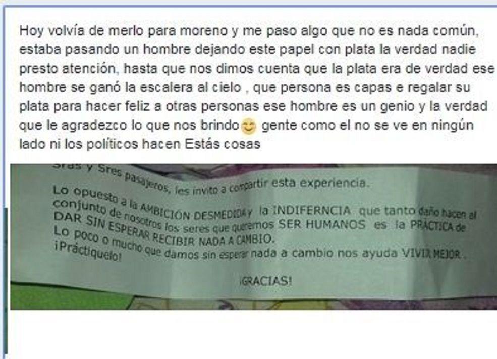 Un abuelo repartió billetes de $200 en el Sarmiento junto a un tierno mensaje