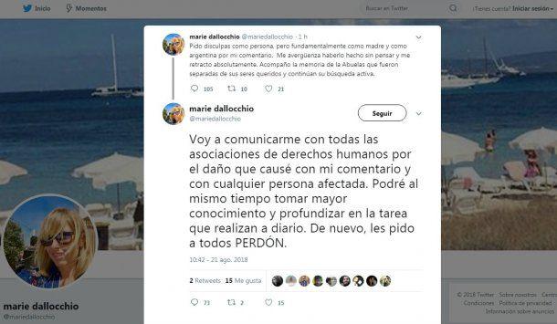 Marie Dallocchio se retractó después de su desagradable comentario y luego puso su cuenta en privado