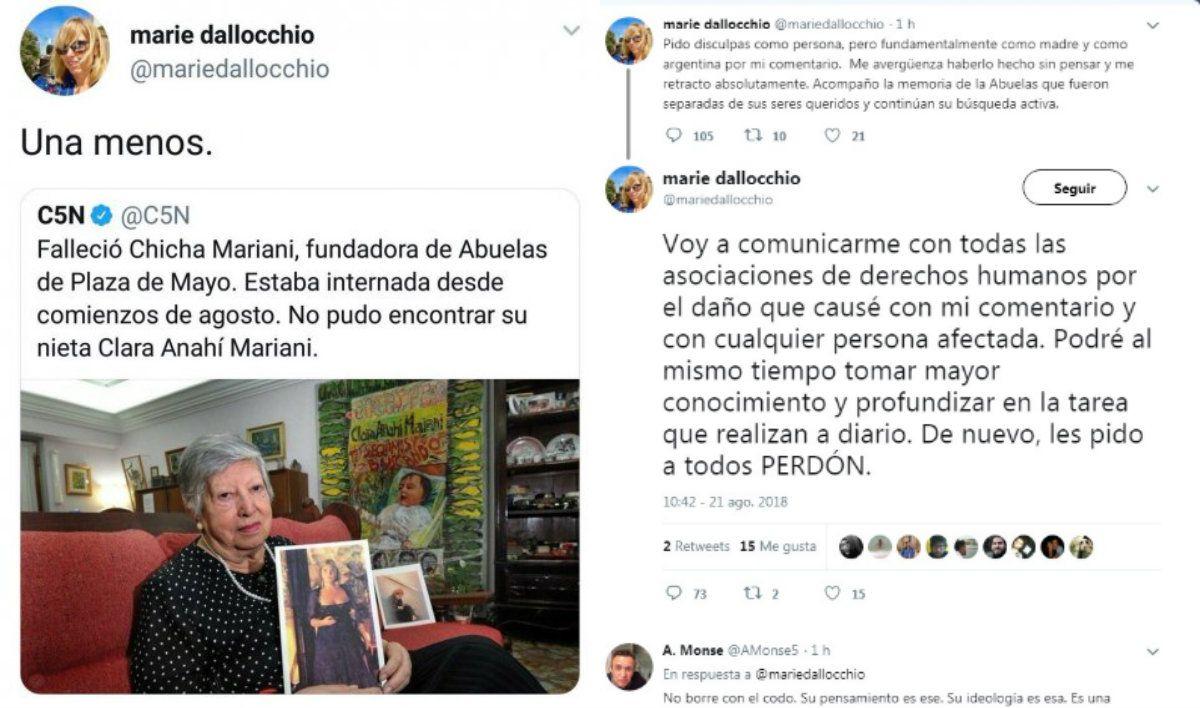 Dallocchio extendió sus disculpas por todo Twitter pero luego puso sus mensajes en privado