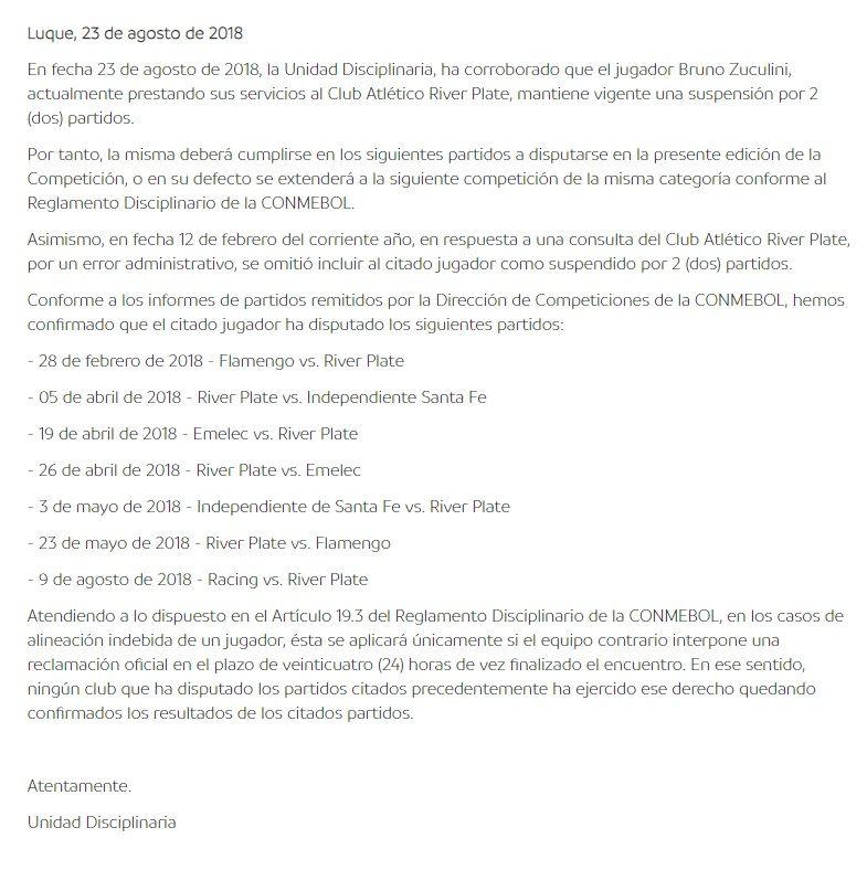 Las claves del caso Zuculini: ¿por qué la Conmebol no sancionó a River?