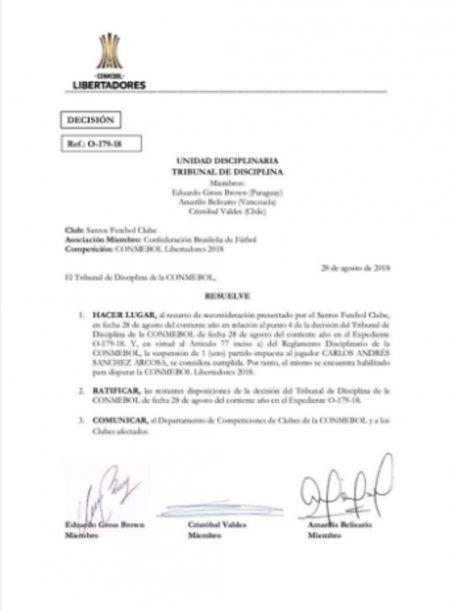 La Conmebol habiitó a Carlos Sánchez<br>