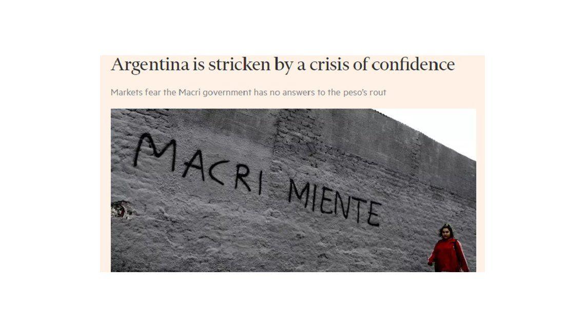 Argentina está golpeada por una crisis de confianza