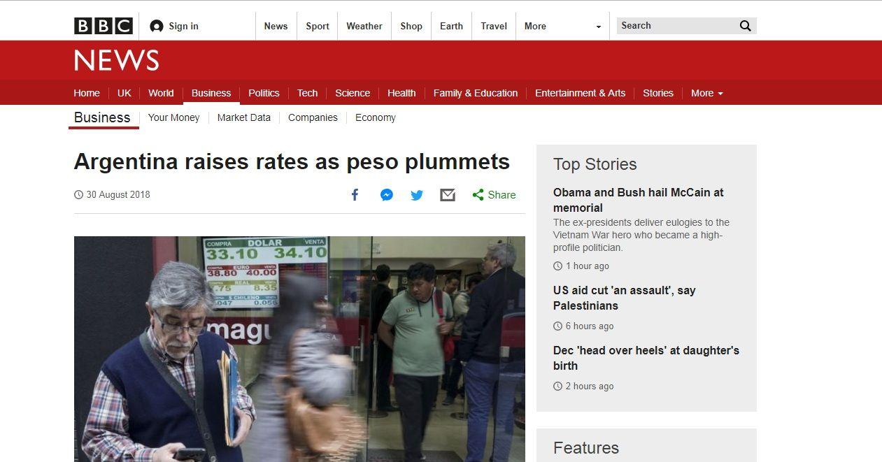 Argentina sube sus tasas mientras el peso se desploma