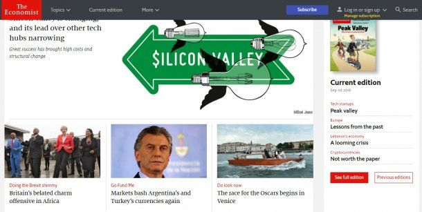 The Economist salió con la lectura de que los mercados aplastaron al peso argentino y la lira turca