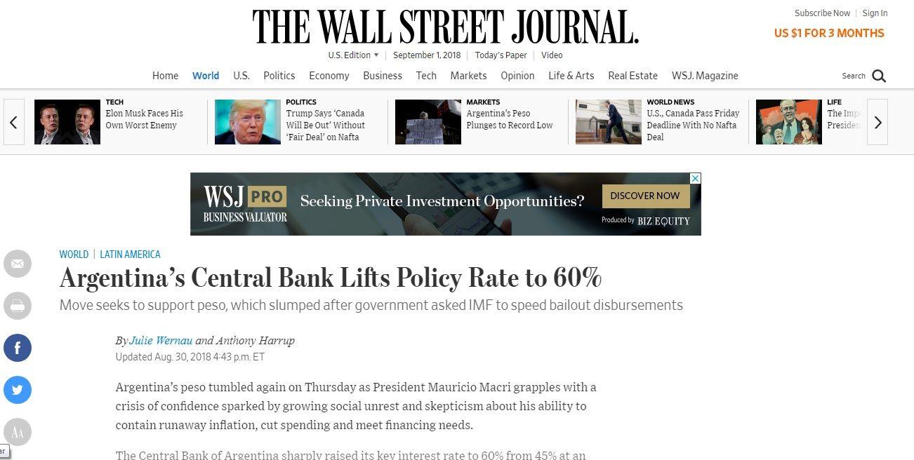El Wall St. Journal se limitó a informaro sobre el aumento del 60% de la política de cambio