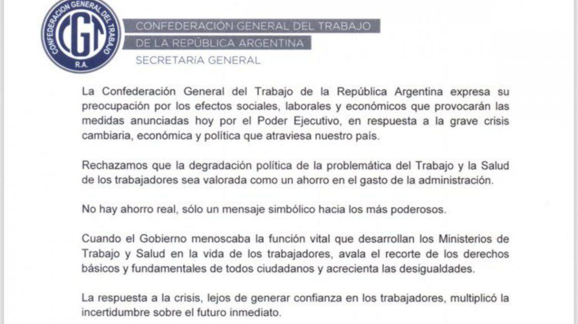 La CGT, preocupada por la disolución de los ministerios de Trabajo y Salud