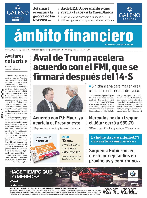 Tapas de diarios del miércoles 5 de septiembre de 2018