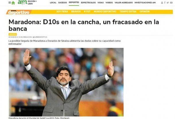 Críticas a Maradona en México