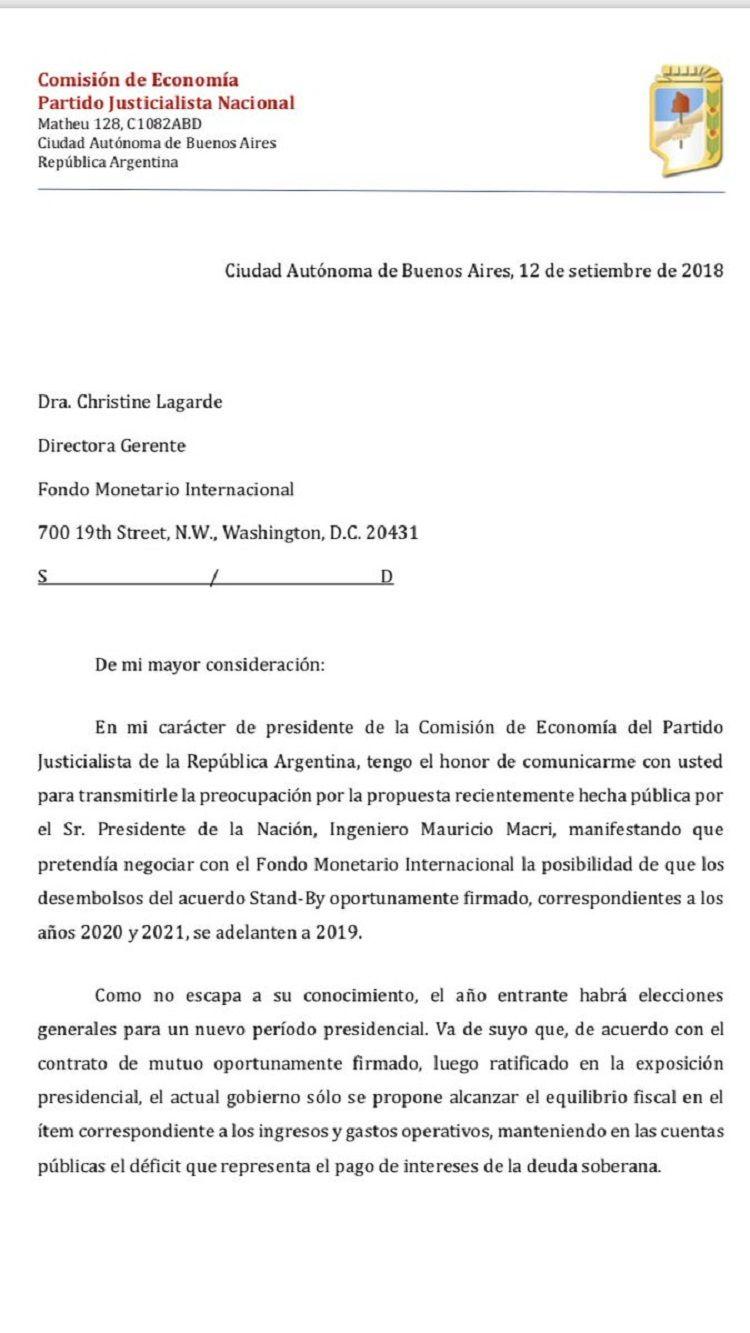 El Partido Justicialista le pide al FMI que no envíe el anticipo de dólares que pidió Macri
