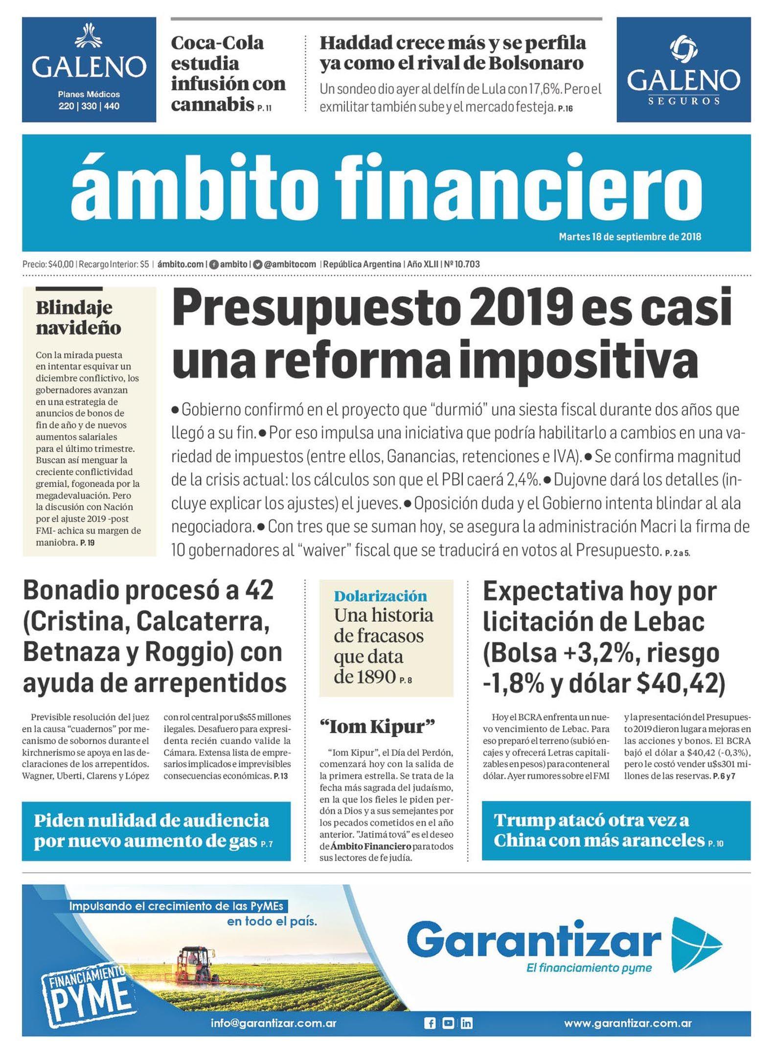 Tapas de diarios del martes 18 de septiembre de 2018