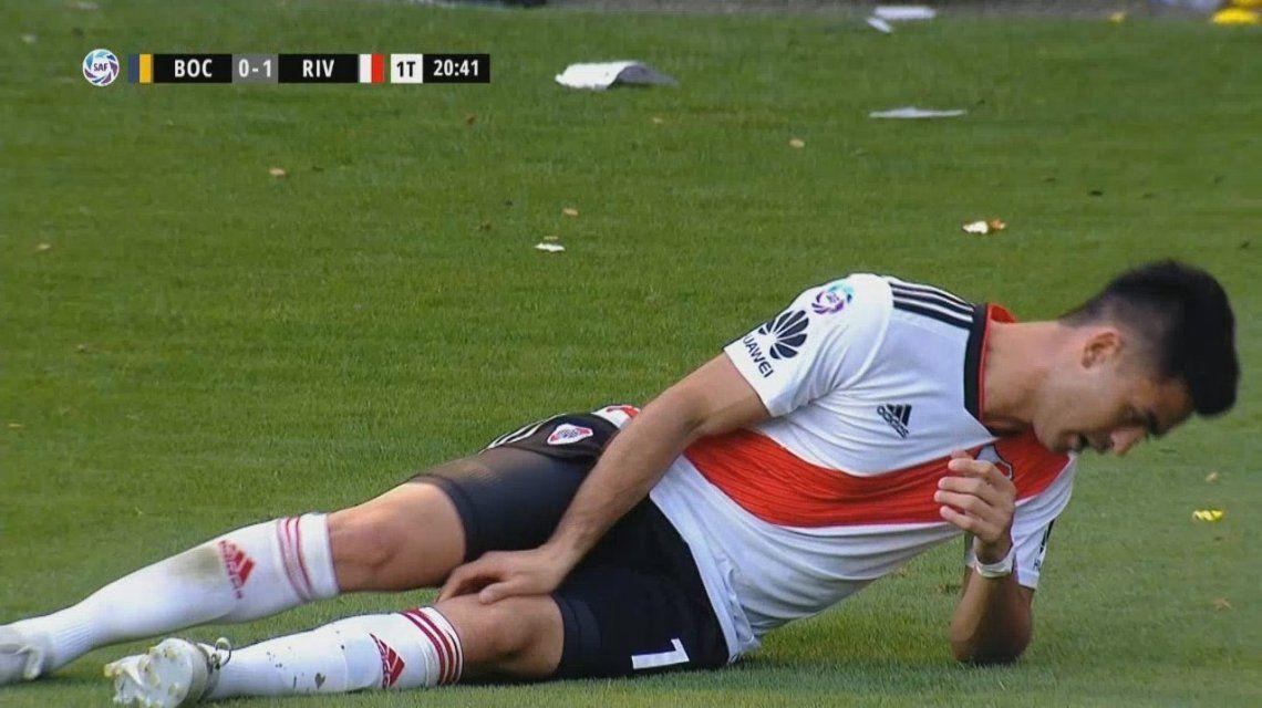 Pity Martínez se desgarró en el Superclásico