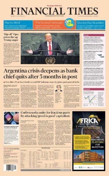 Tapa de la edición del 26 de septiembre del Financial Times<br>