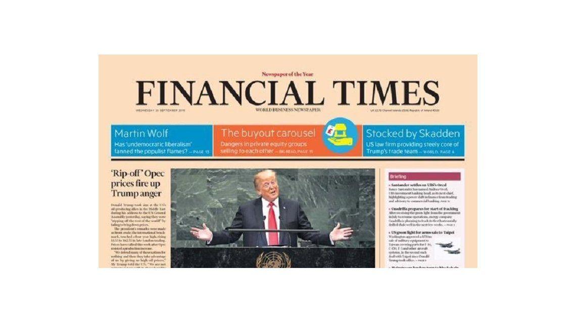 Tapa de la edición del 26 de septiembre del Financial Times