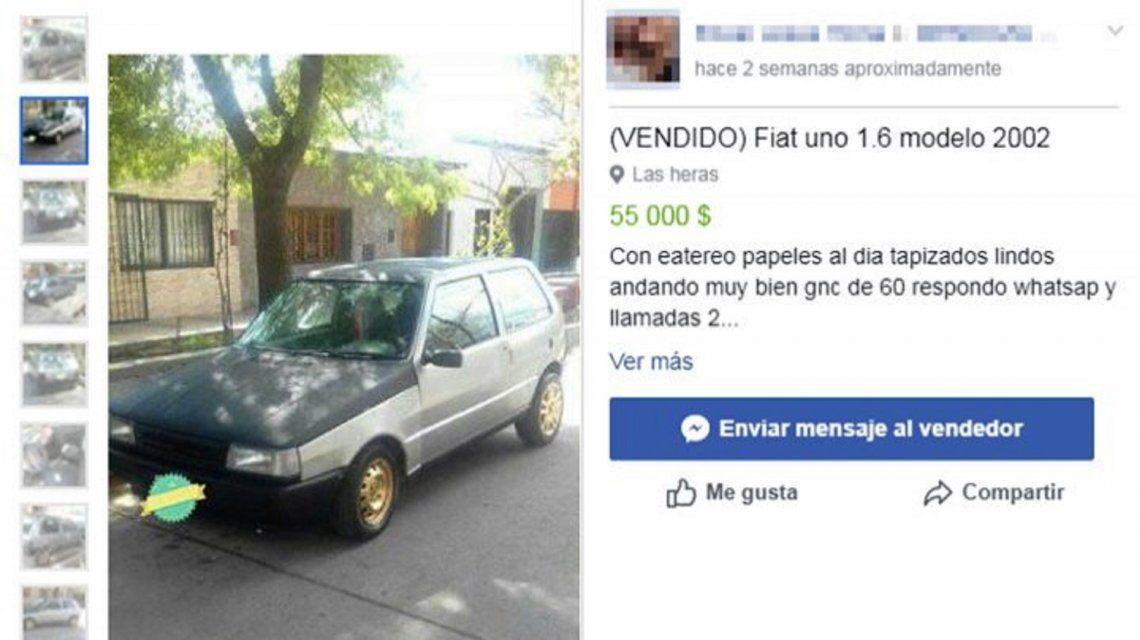 Descubrió que vendían su auto robado en Facebook, se hizo pasar por comprador y lo recuperó