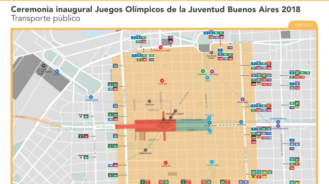 Éstos son todos los cortes que habrá en la Ciudad por los Juegos Olímpicos de la Juventud