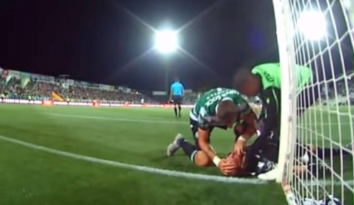 Dramático momento: el uruguayo Coates le salvó la vida al arquero del Sporting Lisboa