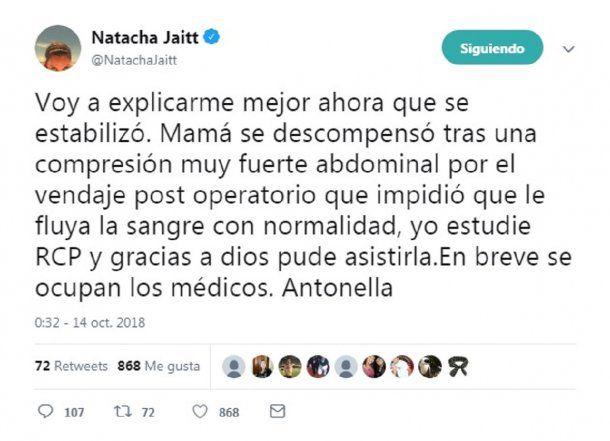Tuvieron que reanimar a Natacha Jaitt