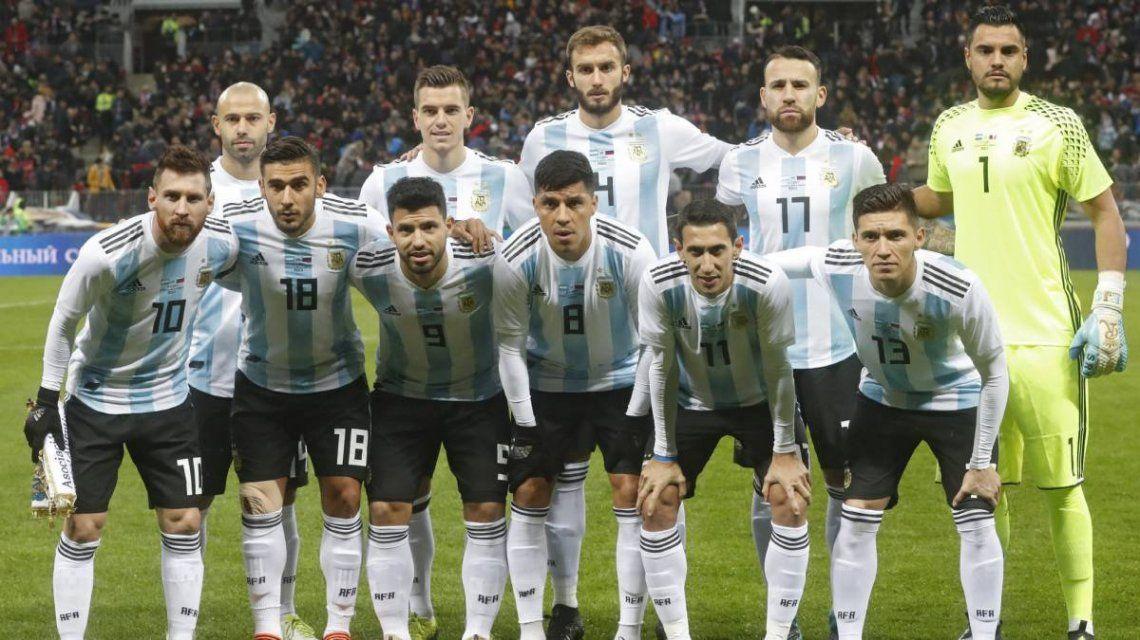 Una de las formaciones de Argentina en la gira previa a Rusia 2018