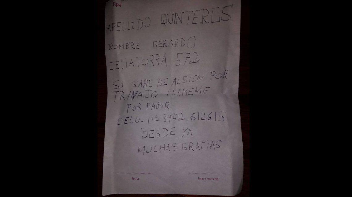 Este era el mensaje de la billetera extraviada en Concepción del Uruguay