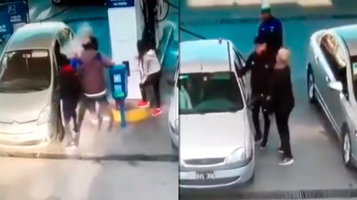Una mujer y un joven se pelearon por ver quién cargaba nafta primero