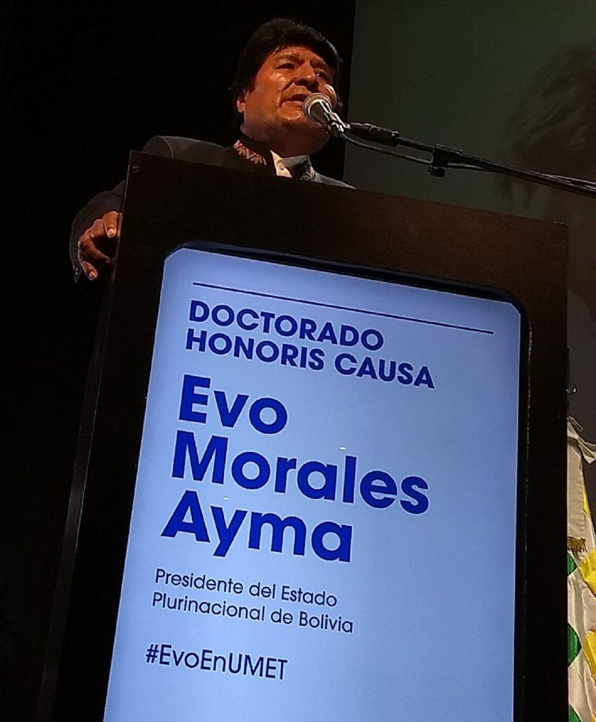 Evo Morales en la UMET - Crédito:@UMETeduar