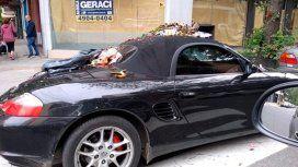 Dejó su Porsche en la senda peatonal y se lo llenaron de basura