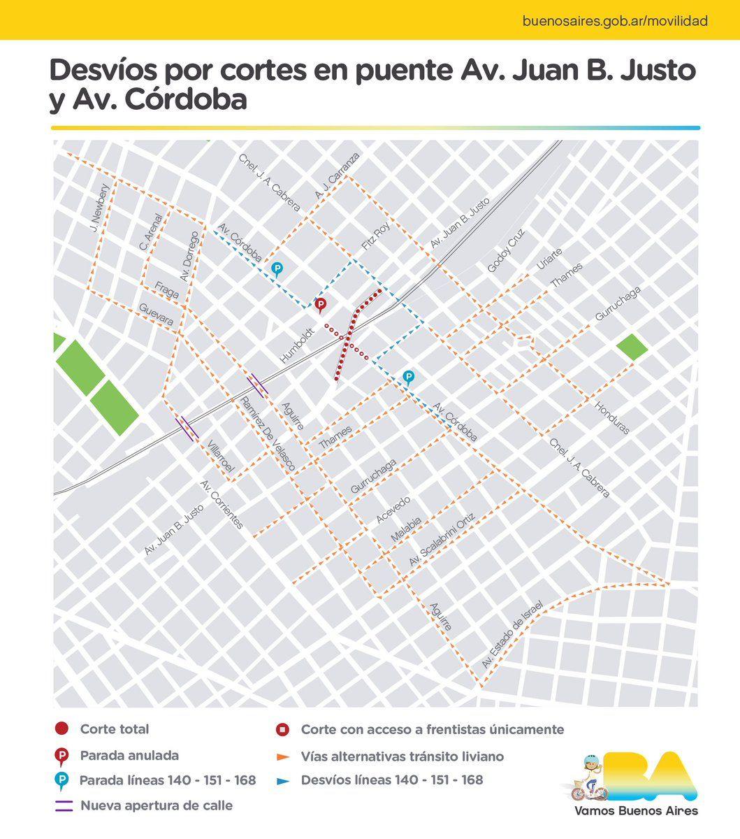 El Gobierno de la Ciudad abrió calles alternativas al cruce clausurado de las avenidas