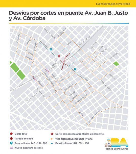 El Gobierno de la Ciudad abrió calles alternativas al cruce clausurado de las avenidas<br>