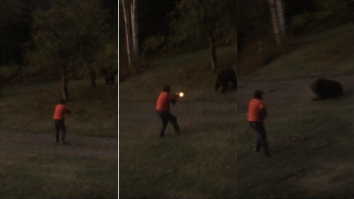 Enfrentó a un oso en la puerta de su casa