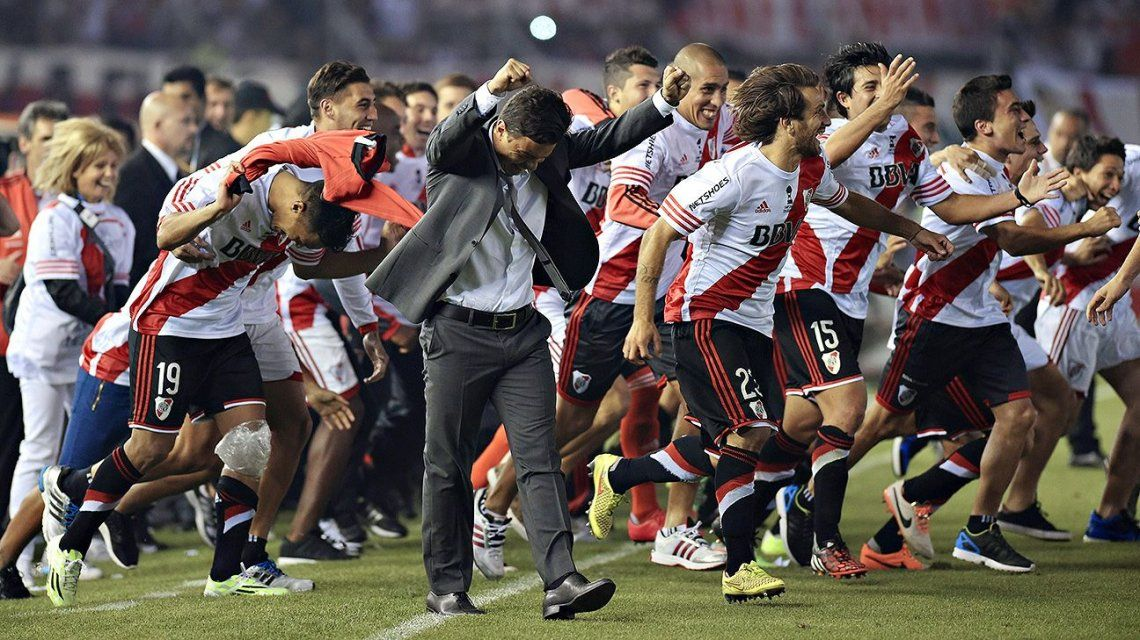 El festejo de Marcelo Gallardo en la Copa Libertadores