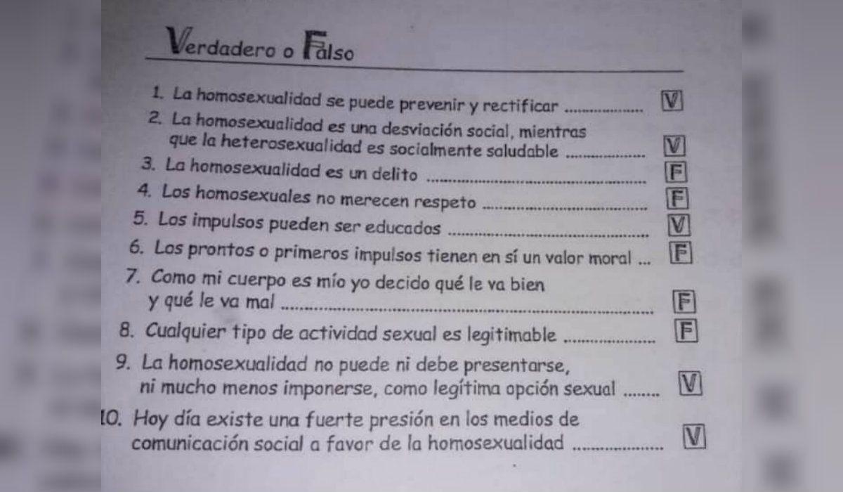 El cuestionario entregado en el colegio Urbano de Iriondo del Niño Jesús de Santa Fe