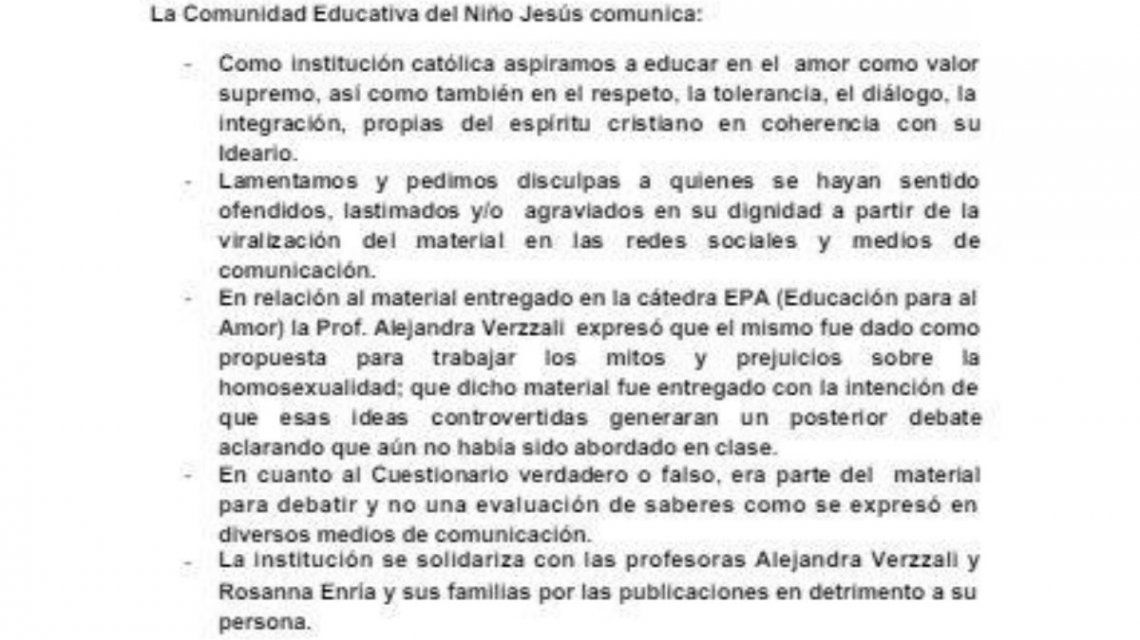 La extraña explicación de un colegio católico para dar un cuestionario homofóbico a sus alumnos