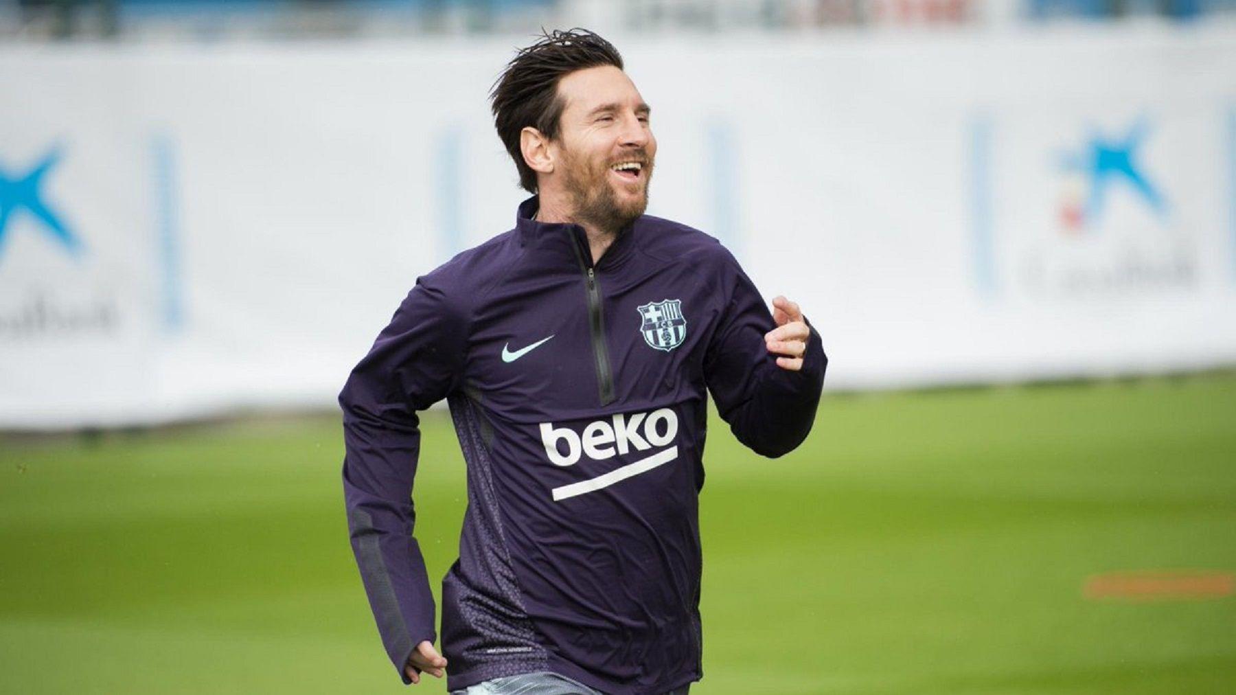 Lionel Messi volvió a entrenar. Foto: @FCBarcelona.