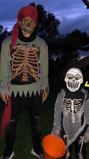 Lionel y Thiago Messi posan por Halloween<br>