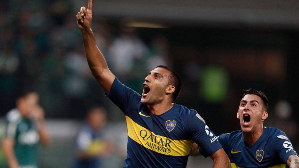 Wanchope festeja el gol (@BocaJrsOficial)