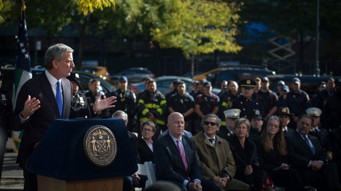 El alcalde Bill De Blasio homenajeó a los rosarinos muertos en el atentado de 2017
