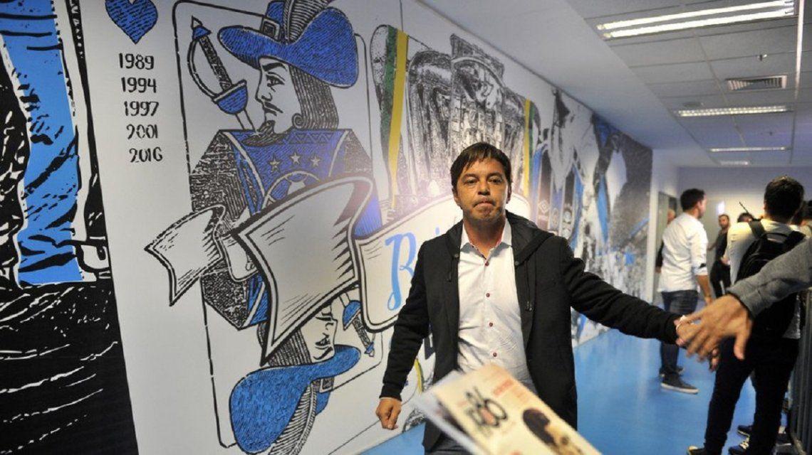 Marcelo Gallardo llegando al vestuario del Arena de Gremio