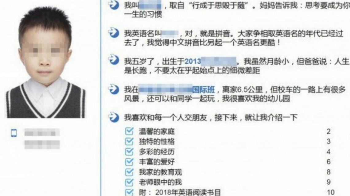 Si me retan, me adapto rápido: el CV de un nene chino de cinco años