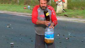 Un vecino aprovechó el vuelco de un camión con cerveza y llenó su bidón