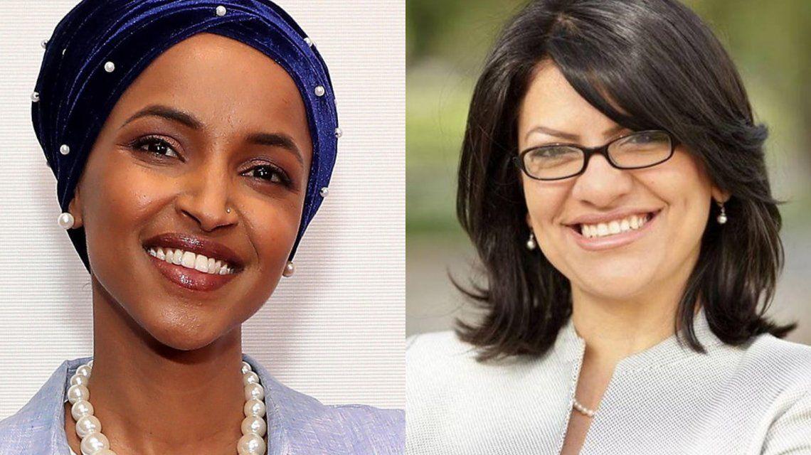 Ilhan Omar yRashida Tlaib fueron elegidas a la Cámara de Representantes.