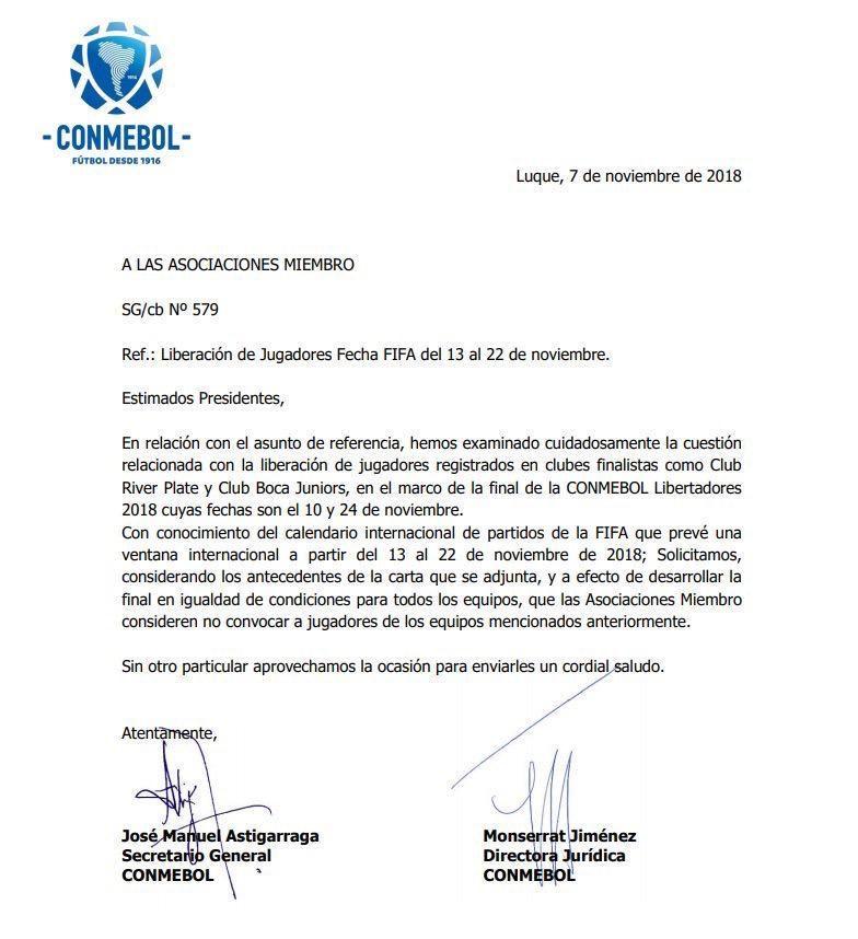 Conmebol pidió a las selecciones que liberen a los jugadores para la final de la Copa