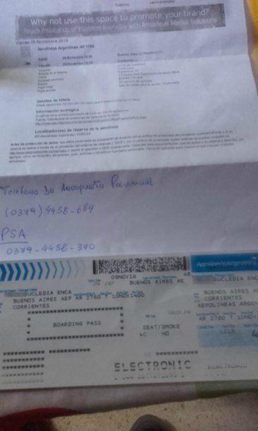 <p>Las indicaciones que recibió Aníbal por parte de la aerolínea</p>