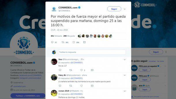 El tuit de la Conmebol dejó a los hinchas algo confundidos