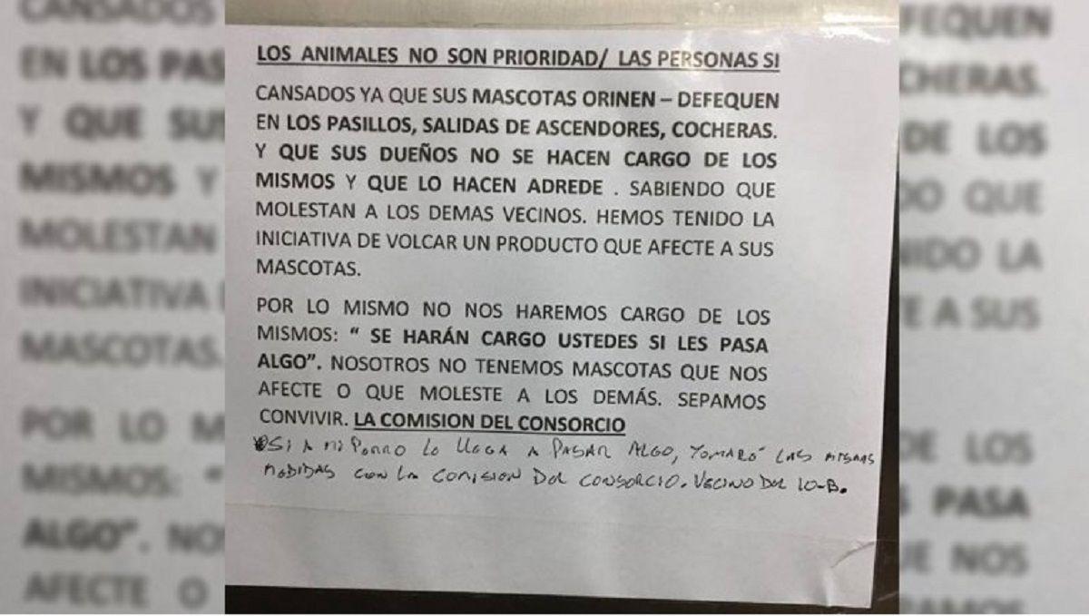 Neuquén: denuncian a la administración de un edificio por querer envenenar a los perros de los vecinos