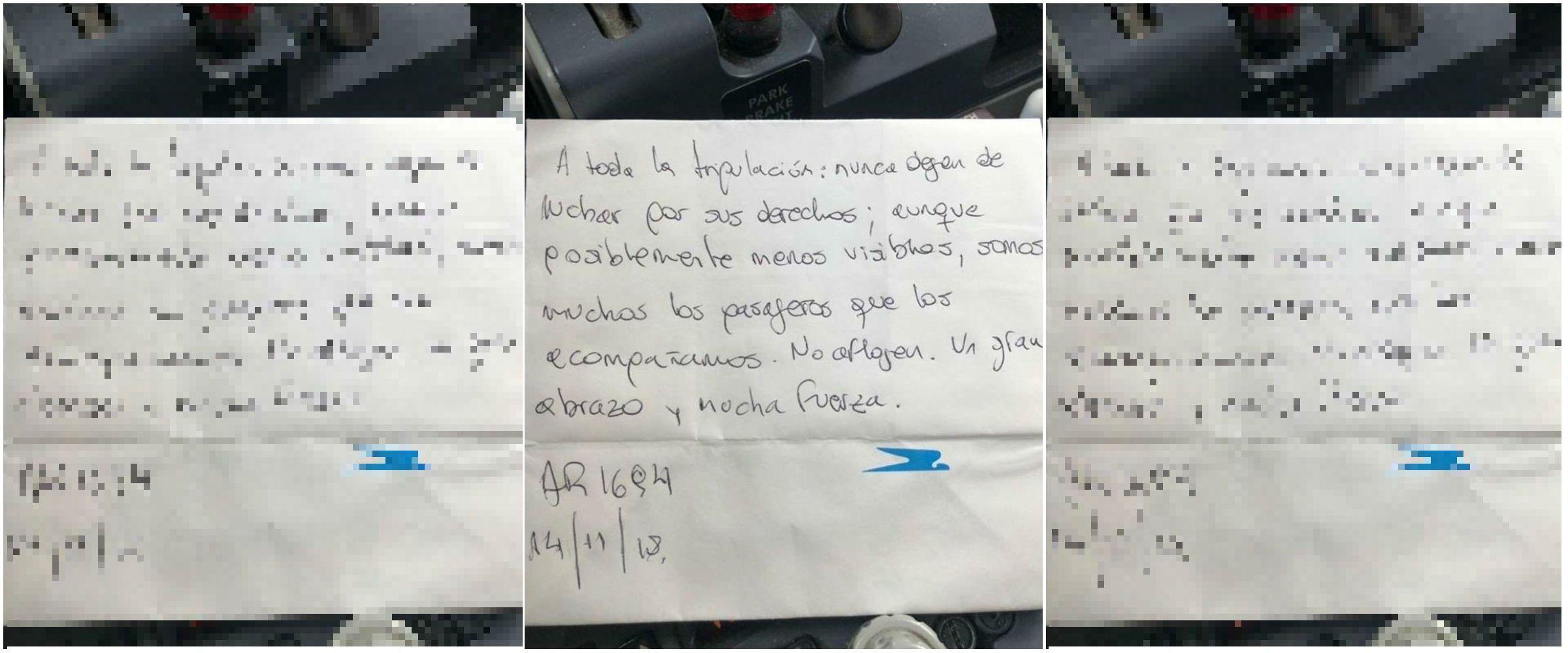 El mensaje se lo dejaron a los tripulantes del vuelo AR 1694