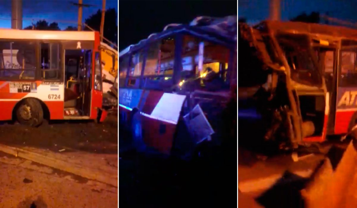 VIDEO: Así quedó el colectivo arrollado por el Belgrano Norte