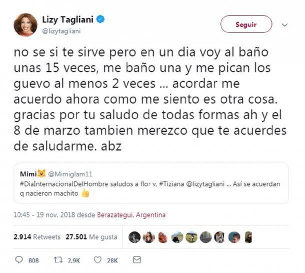 Ataque a Lizy Tagliani en Twitter y su repuesta