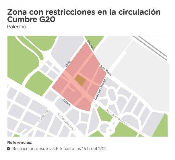 Cortes por el G20 en Palermo